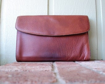 Vintage Joseph Daniel Cognac Genuine Quality Leather Goods Handmade Designer Briefcase Legal Lawyer Brief Pouch Organizer Hipster Tote Bag