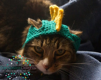 Crochet Dinosaur Hat for your Pet, Ready to Ship -- RTS for Cat, Small Dog, Puppy, Kitten Costume, Pet Accessories
