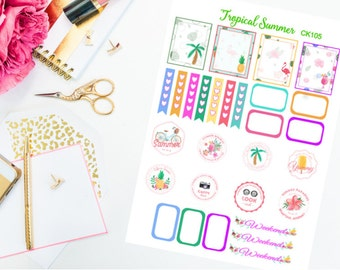 Summer Stickers,Beach Stickers,Vacation Stickers,Tropical Stickers,Palm Tree Stickers,checkbox Stickers,Erin Condren Planner Stickers,Labels