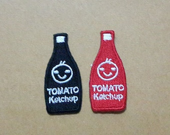 Set 2 pcs Black & Red Tomato Ketchup Bottle Applique Embroidered Iron on Patch size 1.8 x 4 cm.
