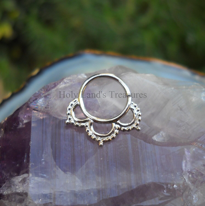 tribal septum ring 14k solid white gold septum ring