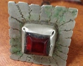 SALE !! Old Berber Solid Ring with Red Glass