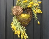 "Spring Wreath Summer Wreath Kitchen Grapevine Oval Wreath Basket Decor...""Lemons"" Artificial Florals Indoor Outdoor Decoration Burlap Flower"