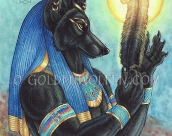 Anubis Egyptian God with Feather of Truth Print