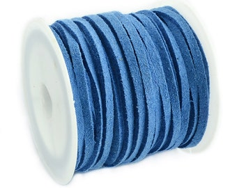 Faux Suede Cord :  5 meters (16 feet) Cornflower Blue 3x1.5mm Lace Cord | Flat Faux Leather Bracelet Cord |  Suede Cording 003-30