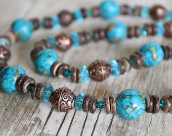 Mosaic Turquoise, Copper, Crystal, and Wood Necklace / Blue, Brown / Sparkly, Earthy / Gifts for Her / Turquoise Necklace / Chunky Necklace