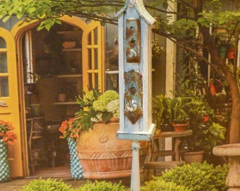 Vintage  Birdhouse on Post for Dollhouse Miniature
