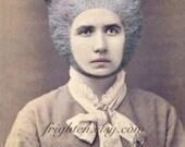 Mixed Media Collage, Woman with Bear Hat, Victorian Art, Weird Art Print, frighten