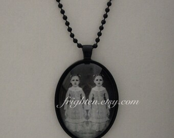 Creepy Twins Art, Halloween Pendant, Black Necklace with Long Chain, Halloween Jewelry
