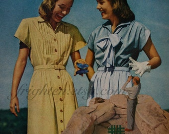 One of a Kind Retro Paper Collage of Two Women with Butterfly, OOaK Unusual Wall Art