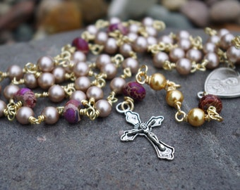 Handmade Blush Pink Wirewrapped Rosary