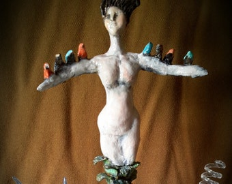 Nature Earth Goddess Dryad with Birds Sculpture Pure Sculpt