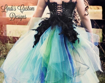 Peacock Costume Bustle Tulle Tail Costume Accessory for Children, Teens, Adults, Women, Halloween, Pageants, Parties, Masquerade, Boudoir