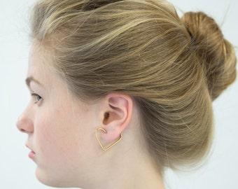 Gold heart earrings, Gold hoop earrings 14k, heart hoop earrings, 14k solid Gold earrings, 14k Gold earrings, Hoop Earrings Gold