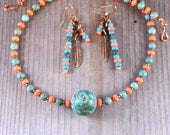 Turquoise & Coral Necklace Earring Set - 17 Inch Beaded Necklace - Seed Bead Copper - Casual Rustic - BOHO Jewelry