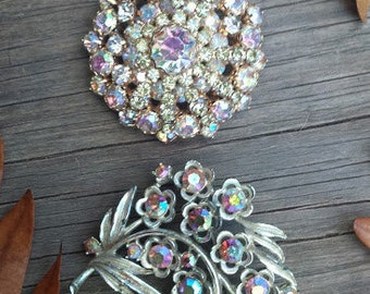 Two Antique Brooches with Rhinestones