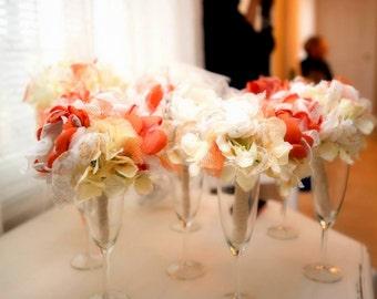 Wedding Bouquet Custom Bridal Orange Ivory Bouquet, Deposit only