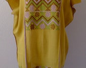 Mexican handwoven short huipil mustard w/moss green  -Amuzgo Oaxaca -  gauzy resort cover-up - Frida Kahlo - Medium/LRG