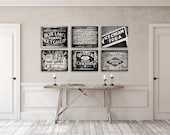 Rustic Kitchen Decor - Rustic Kitchen Wall Decor -  Set of 6 Black and White Prints - Country Kitchen Decor - Farmhouse Kitchen Art - Signs.