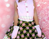 Girls Skirt and Top Set Pink Rose Size 2-10  Children's clothing girls dress