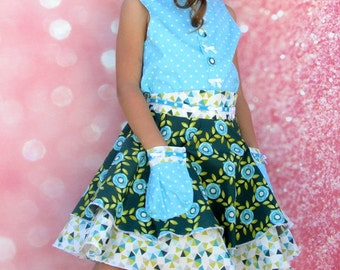 Girls Skirt and Top Set Blue Rose Size 2-10  Children's clothing girls dress