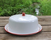Vintage Enamelware Cake Plate & Dome Cover - Red and White Enamelware ~ Farmhouse Rustic ~ 4th of July ~ Patriotic Decor ~ Glamping