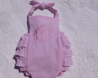 Ruffle Baby Bubble, FREE MONOGRAM, rumba sunsuit, newborn to 24 mos, halter, ruffles, romper, sunsuit, Classic, toddler, made in the USA