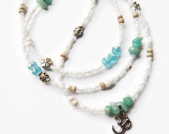 OM Waist Beads, Aquamarine OM  Waistbeads, Blue Belly Chain, Aquamarine Belly Beads