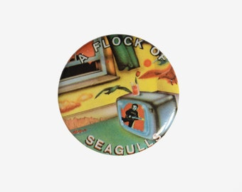 """vintage 80s A Flock of Seagulls button album cover pin pinback 1980 1982 I Ran badge 1.25"""" button"""