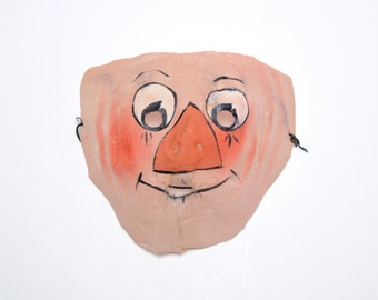 vintage mask 30s 40s gauze waxed Halloween mask 1930 1940 Raggedy Andy mask spooky creepy oddity antique mask