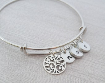 Family Tree Bracelet, Personalized Bangle Bracelet, Tree of Life Bangle, Tree of Life Bracelet, Personalized Jewelry, Initial Jewelry