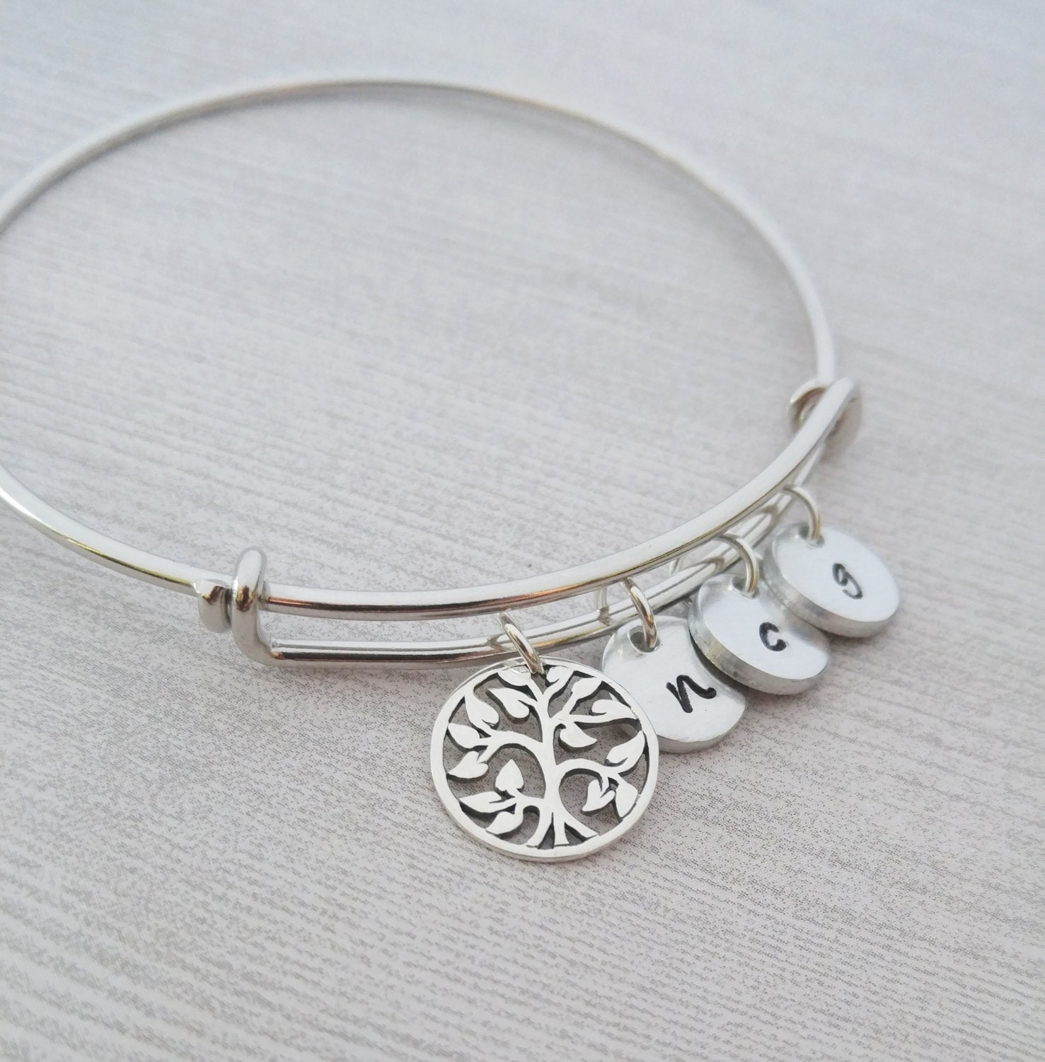 Personalized Bracelet Charms: Family Tree Bracelet Personalized Bangle Bracelet Tree Of