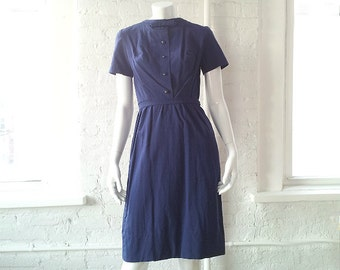 1960s Navy Blue Sheath Dress 60s Vintage Mod Dark Blue Cotton Shift Dress Bow Tie Small Shirtdress Pencil Skirt Shirt Dress Preppy Day Dress