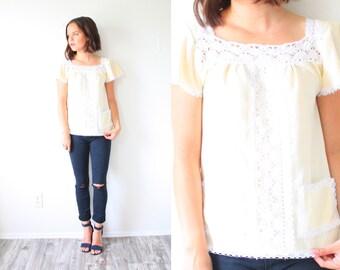 Vintage boho crochet cream blouse // hippie modest summer lace top // Mexican cream blouse shirt // boho fancy top // short sleeve blouse