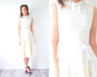 Vintage Short Tea Length Cream Wedding Dress Ruffle Bohemian Lace Reception