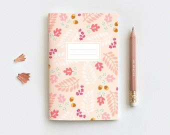 Autumn Gratitude Journal & Pencil Set, Midori Insert - Hand Drawn Fall Leaves Peach Floral Notebook - 3 Sizes - Blank, Lined or Dot Grid
