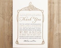 Gold Thank You Wedding Reception Card for Table includes Customizable Wording, Paper, Ink Colors, Font Styles - 5x7 in size