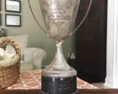 GOOD News BAD News ANTIQUE Trophy Old Loving Cup Vintage Sports Display Dog Field Trials akc Contest Winner