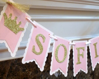 Pink and Gold Crown Name Banner, Gold Crown Banner, Pink and Gold Birthday Banner,  Pink and Gold Banner, Princess Banner