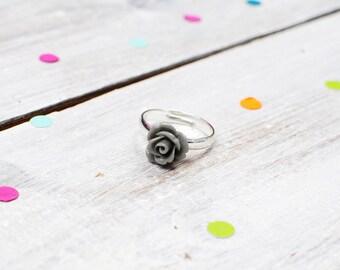 Grey Rose Ring | Flower Ring | Adjustable | Nickel Free