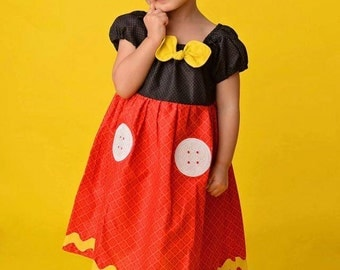 Mickey Mouse dress, Mickey Mouse Costume, Disney inspired Mickey Mouse, Mickey Mouse, Disney Dress, Mickey Mouse Embroidery, Mickey Applique