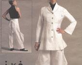 Andrea Katz Womens Peplum Jacket & Flange Pants OOP Vogue Sewing Pattern V1116 Size 14 16 18 20 22 Bust 36 to 44 UnCut American Designer