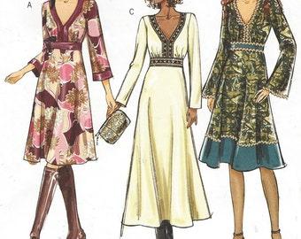 Womens Boho Empire Waist Dress Bell Sleeves OOP Butterick Sewing Pattern B4849 Size 14 16 18 20 Bust 36 38 40 42 UnCut Sewing Patterns