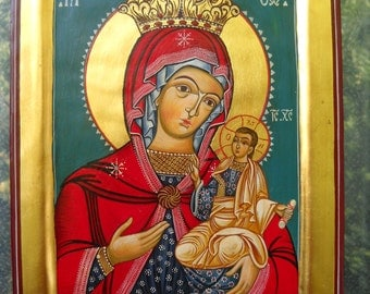Madonna with Child Jesus, Romanian Byzantine Icon, Blessed Virgin Mary, Our Lady- Fine Artwork Ready to Hang- icon religious