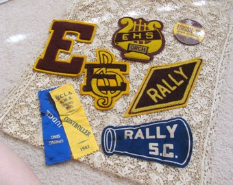 Vintage Felt Letterman Patches Badge Pin Pennant - Edison Senior High School  - Circa 1940s