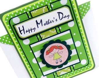Green Polka Dots- Mother's Day Card with Matching Embellished Envelope