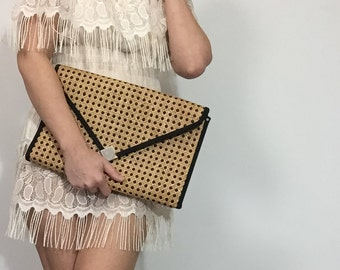 Oversized Envelope Clutch in Rattan / Cane