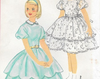Sz 12-FACTORY FOLDED Girls' 1958 Party Dress With Detachable Collar