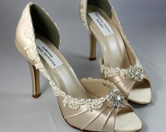 SALE Champagne wedding heels- Size 7.5 The Corrisa