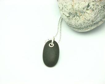 Beach Stone Jewelry River Rock Necklace Sterling Silver Riveted  Pebble Necklace Lake Superior Stone Organic Earthy Jewelry